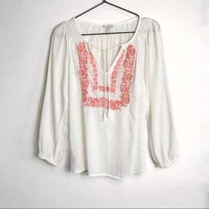 JOIE- Boho White Embroidered Peasant Blouse